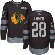 Chicago Blackhawks #28 Steve Larmer Authentic Black 1917-2017 100th Anniversary Adidas Jersey