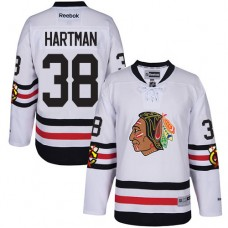 Kid's Chicago Blackhawks #38 Ryan Hartman Authentic White 2017 Winter Classic Reebok Jersey