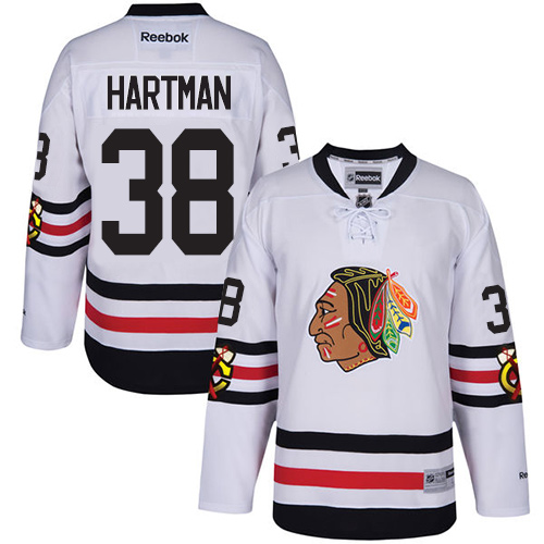Kid's Chicago Blackhawks #38 Ryan Hartman Premier White 2017 Winter Classic Reebok Jersey