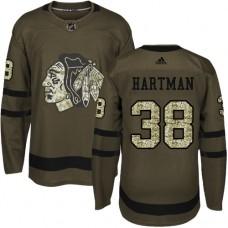 Chicago Blackhawks #38 Ryan Hartman Authentic Green Salute to Service Adidas Jersey