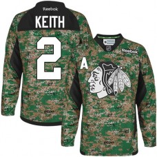 Kid's Chicago Blackhawks #2 Duncan Keith Authentic Camo Veterans Day Practice Reebok Jersey