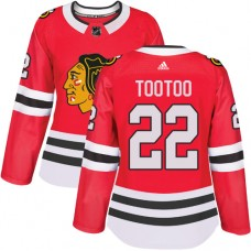 Women's Chicago Blackhawks #22 Jordin Tootoo Authentic Red Home Adidas Jersey