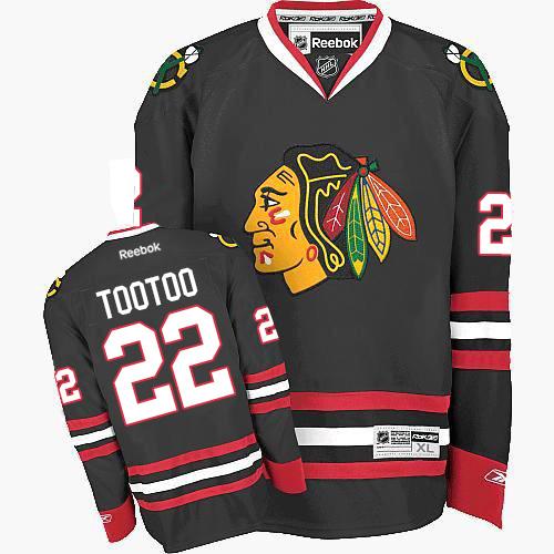 Women's Chicago Blackhawks #22 Jordin Tootoo Premier Black Third Reebok Jersey