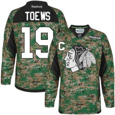 Chicago Blackhawks #19 Jonathan Toews Authentic Camo Veterans Day Practice Reebok Jersey