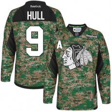 Chicago Blackhawks #9 Bobby Hull Authentic Camo Veterans Day Practice Reebok Jersey