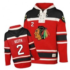 Old Time Hockey Chicago Blackhawks #2 Duncan Keith Authentic Red Sawyer Hooded Sweatshirt