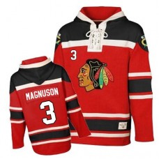 Old Time Hockey Chicago Blackhawks #3 Keith Magnuson Premier Red Sawyer Hooded Sweatshirt