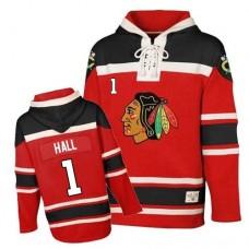 Old Time Hockey Chicago Blackhawks #1 Glenn Hall Authentic Red Sawyer Hooded Sweatshirt