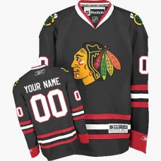 Chicago Custom Blackhawks Authentic Black Reebok Jersey
